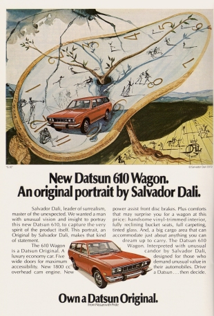 Salvador Dali's 1972 ad for the Datsun 610 Wagon.